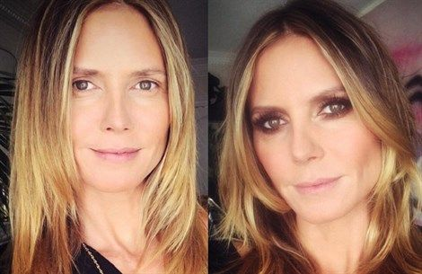 Heidi Klum, prima e dopo il make-up - VanityFair.it  http://www.vanityfair.it/beauty/beauty-star/17/02/14/jennifer-lopez-treccia-make-up-beauty-tips-star-foto-instagram