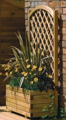Rectangular Planter with Lattice. In white. In front of hose and electric box on side of house. Would be nice screen.