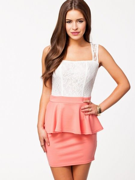Coral and white lace peplum dress available from Lush  www.lushwear.co.za #peplum #lushwear #fashion #fashion2015 #dresses