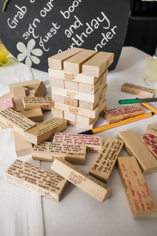 Our guest book was a pack of Jenga Blocks- the messages we received were incredible