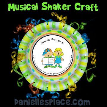 Paper Plate Craft - Praise Shaker Bible Craft from www.daniellesplace.com for Children's Sunday School