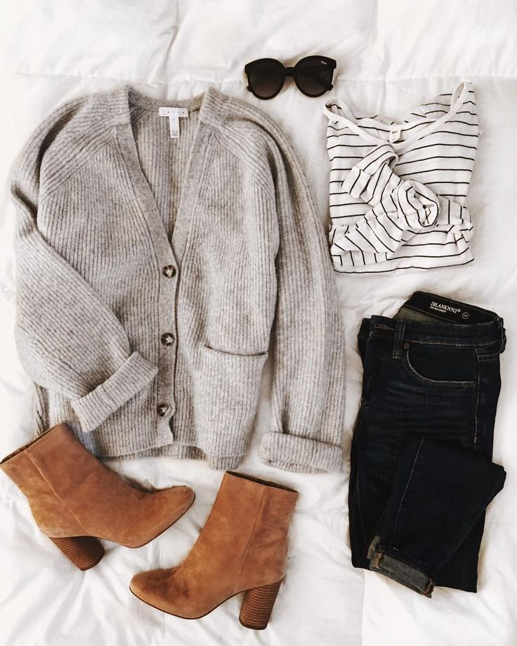 Tan, high-heeled booties + an oversized cardigan + a comfy tee. Winter, I give y…