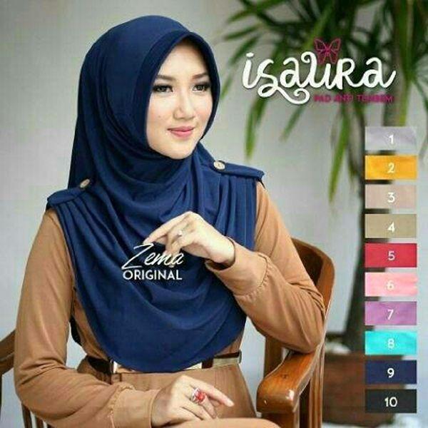 Jilbab Instan Isaura Model Hijab Syar'i Terbaru 2017 dilengkapi variasi rempel samping yg dihiasi kancing kelapa. Ket: panjang sesuai gambar (menutup dada)