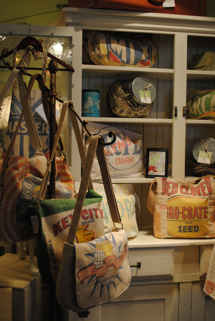 Vintage feed sacks get a new life as a purse you can fit almost anything in.