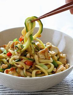 Print Kung Pao Chicken with Zucchini This Low Carb & Low Calorie(Less than 300 Calories) Chicken and Zucchini stir fry has a sauce that combines salty, sweet, sour, and spicy flavors. Topped wi…