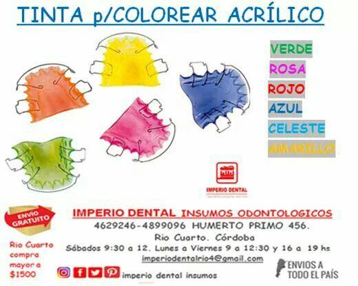 Colorante acrílico dental ortodoncia
