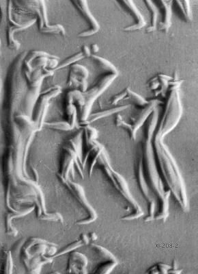 Image of a lion hunt, with support from a Minoan Genius. From a cylinder seal excavated at Kakovatos.