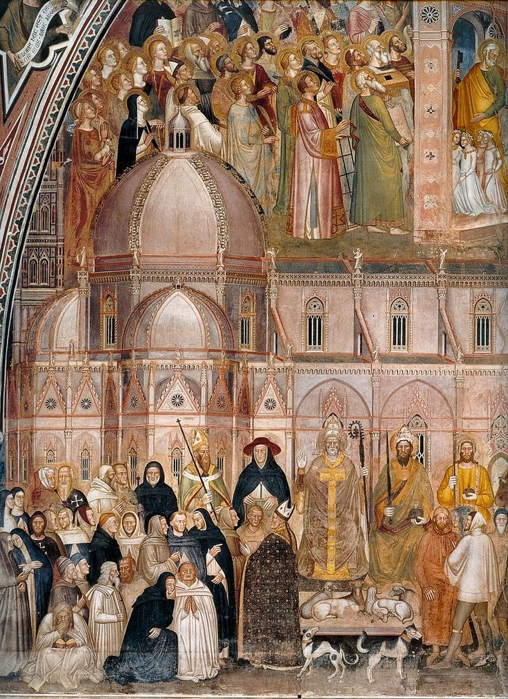 Andrea di Bonaiuto. Santa Maria Novella 1366-7 fresco. Detail. - Андреа Бонайути — Википедия. Триумф церкви, левая часть.