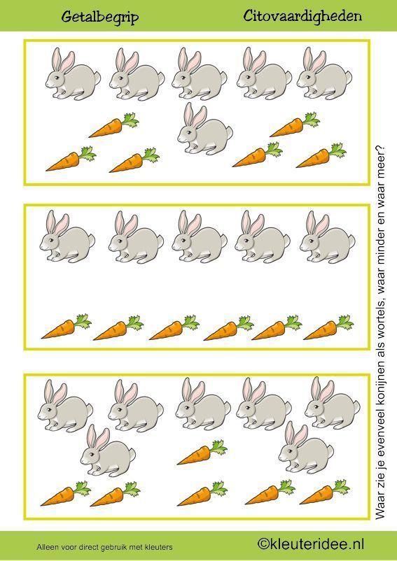 Citovaardigheden voor kleuters, kleuteridee.nl ,meten en getalbegrip, Waar zie je evenveel, waar meer en waar minder wortels dan konijnen 3 , rekenen voor kleuters, preschool math, free printable