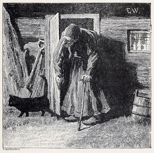 """""""The old woman went out to ask the moon the way to Soria Maria's castle."""" Erik Werenskiold, from Fairy tales from the far North, by Peter Christen Asbjørnsen, London, 1897. Via archive.org."""