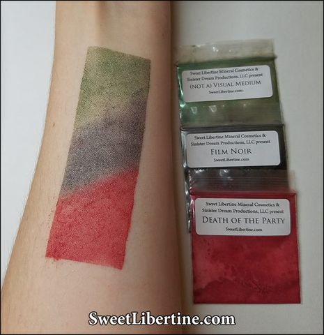 Swatches of our Sinister Dreaming eyeshadow set, courtesy of Leah.  We've been working really hard on getting swatches of all the Sweet Libertine products. Ther