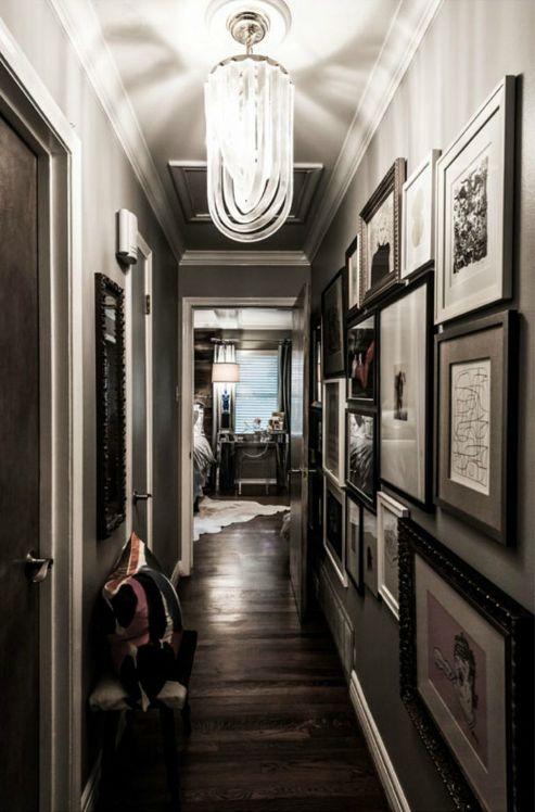 Dark wood floors, gray walls