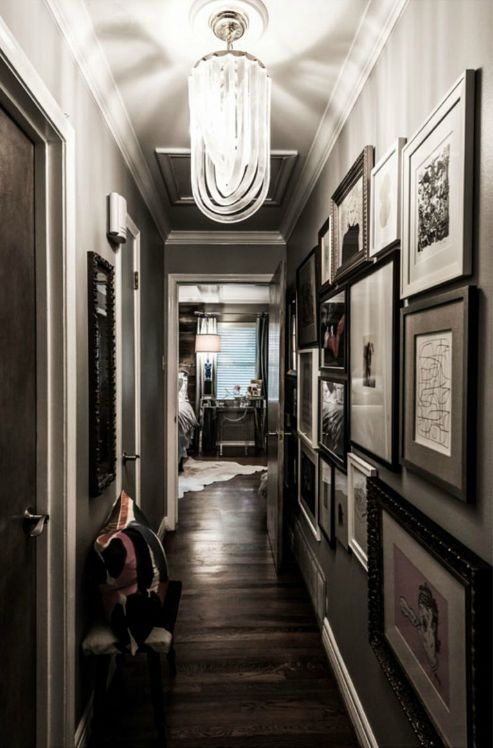 Decor Ideas, Lights Fixtures, Dark Wood Floors, Grey Wall, Gallery Wall, Families Portraits, Narrow Hallways, Decor Mirrors, Gray Wall