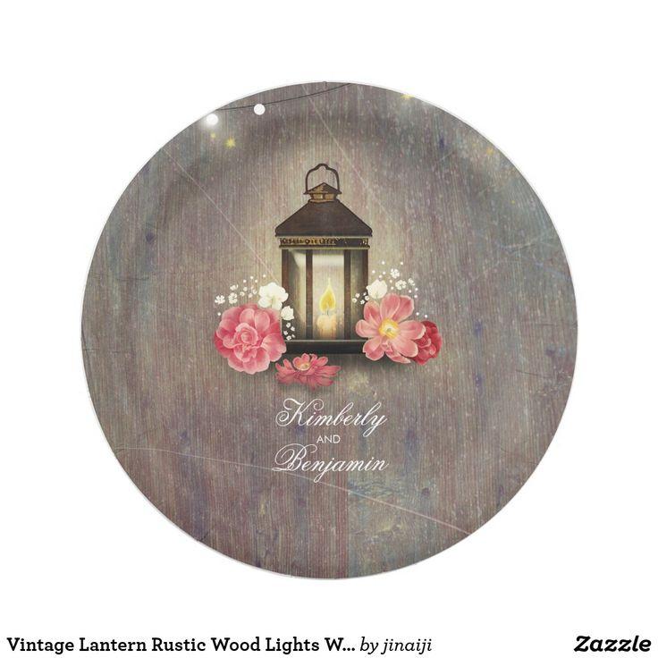 Vintage Lantern Rustic Wood Lights Wedding Paper Plate Barn wedding paper plates with metal lantern and pink flowers