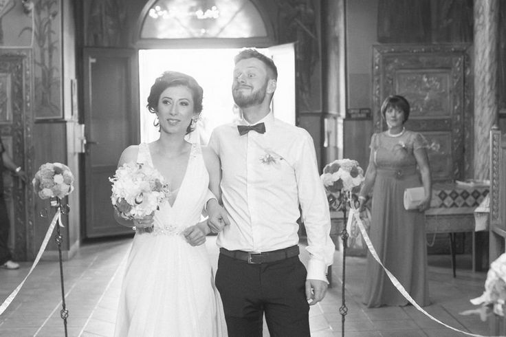 Walking down the aisle with her escort