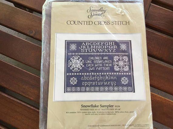 Vintage Cross Stitch Kit Counted Cross Stitch Snowflake