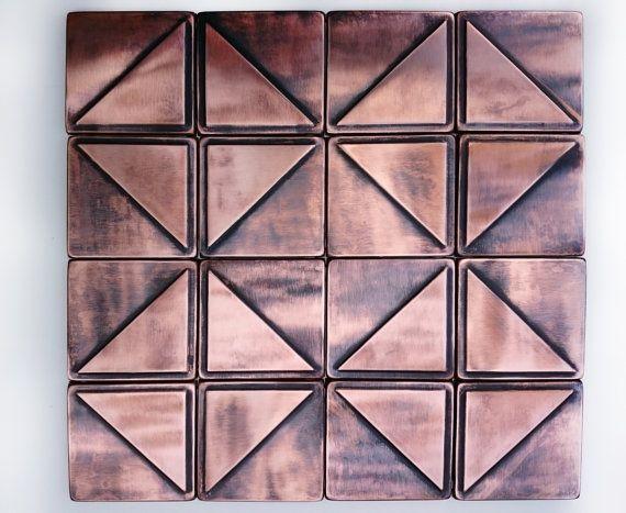 handmade copper tiles, SET OF 16 TILES,  metal  tiles.