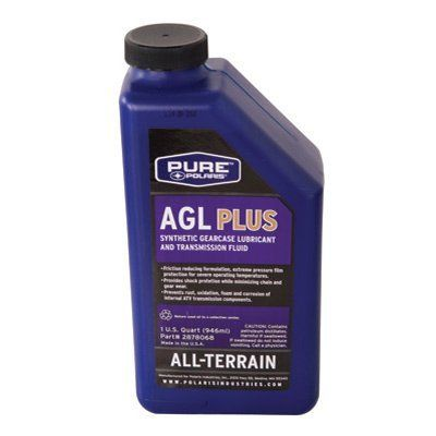 Polaris Premium Synthetic AGL Plus Gear Lube 32 oz. by Polaris.  Polaris ATV gear case lubricant provides the best available synthetic protection for transmission components against rust, corrosion and wear in extreme operating conditions.