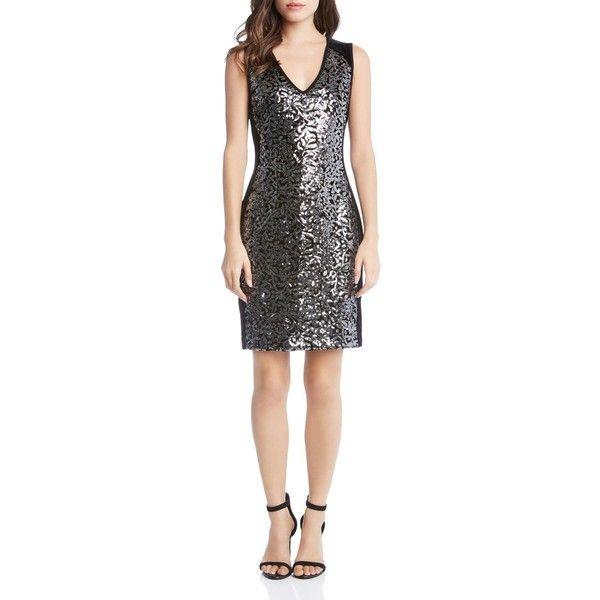 Karen Kane Metallic Sequin Sheath Dress (2.945 ARS) ❤ liked on Polyvore featuring dresses, black, sequin dress, sequin embellished dress, shiny dress, shining dress and polish dress
