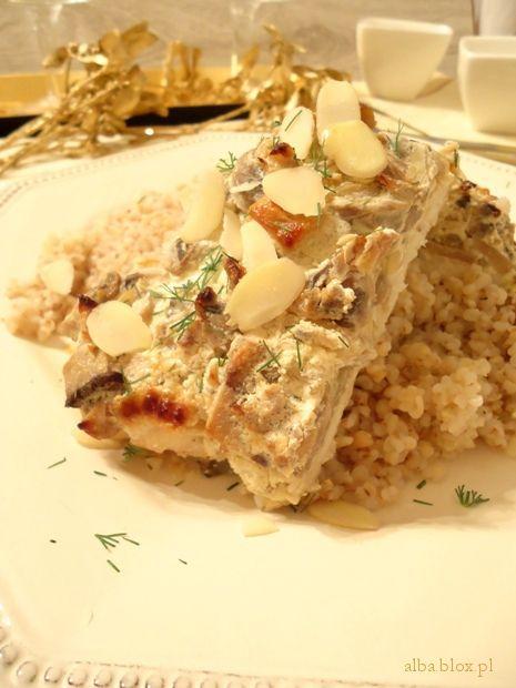 ryba pieczona, ryba z pieczarkami, ryba z warzywami, ryba w sosie, ryba w sosie pieczarkowym, wyba z warzywami, ryba z piekarnika