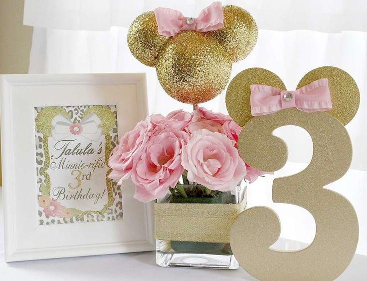 Glittery gold and pink Minnie Mouse birthday party! See more party ideas at CatchMyParty.com!
