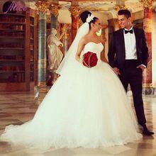 Vestidos de noiva Fildişi Tül Balo Gelinlik Sevgiliye Sparkly Boncuklu Gelin Önlükler Uzun Tren Gelin Elbiseleri(China (Mainland))