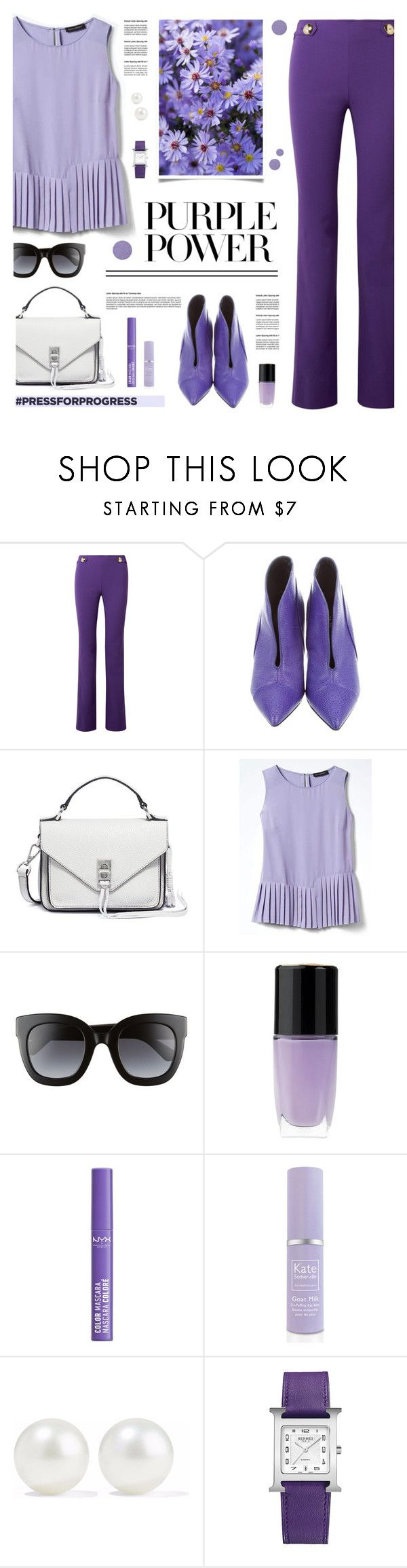 """""""Purple Power"""" by tamara-p ❤ liked on Polyvore featuring Emilio Pucci, Proenza Schouler, Rebecca Minkoff, Banana Republic, Gucci, Lancôme, NYX, Kate Somerville, Kenneth Jay Lane and Hermès"""