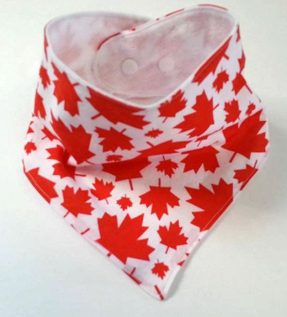 Canada Bibdana  Red Bandana Bib  Neutral by SweetSewingByJen