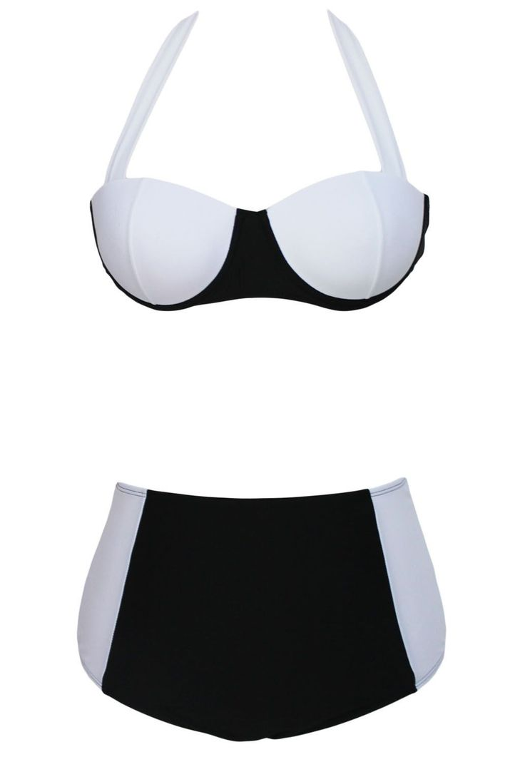 Contrast Black White High-Waisted Bikini LAVELIQ. Contrast Black White High-Waisted Bikini LAVELIQ   Material: Polyamid+Elasthan   Size: S,M,L,Xl      Style: Sexy, High Waist   Occasion: Summer, Beach   Pattern: Patchwork, Color Block   Package Contents: 1 X Set