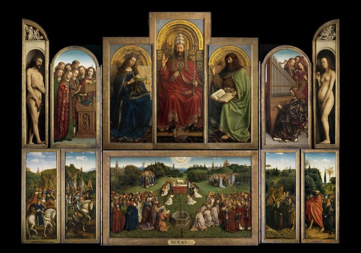 Jan van Eyck: 'The Ghent Altarpiece: Adoration of the Lamb', Saint Bavo Cathedral, Ghent