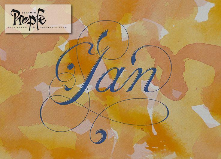 Jan, klassisch schwungvoll, inspiriert von der Anglaise, auf einem handkolorierten Hintergrund auf hochwertigem Aquarellpapier.