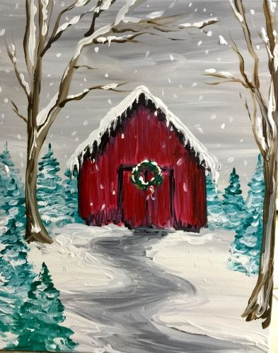 Cute little red barn painting with teal trees and snow. Paint Nite Events near Boston, MA, United States