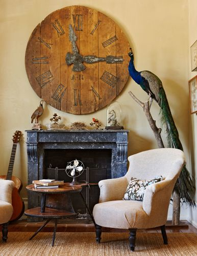 Clock: Big Clocks, Living Rooms, Decor Ideas, Favorite Places, Interiors, Wood Clocks, Wall Clocks, Wooden Clocks, Peacock