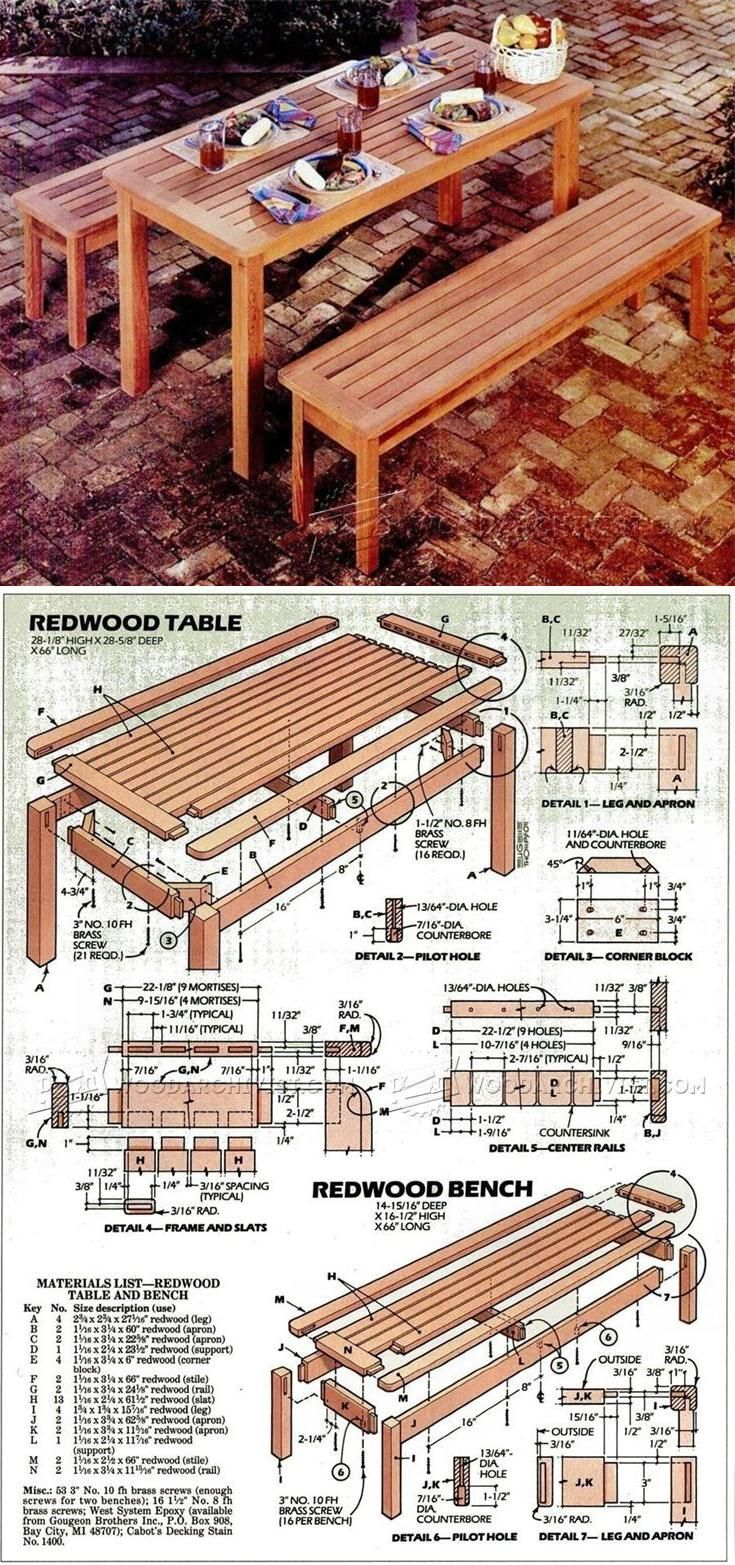 Outdoor Table and Bench Plans - Outdoor Furniture Plans and Projects   WoodArchivist.com