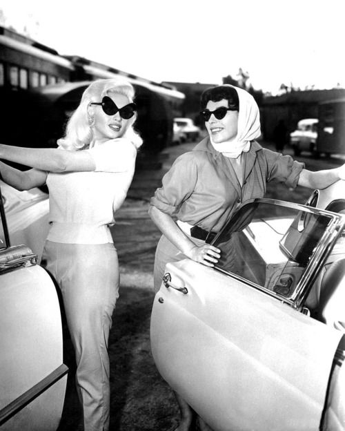 "sparklejamesysparkle:""Jayne Mansfield and Joan Collins arrive for a day of work on the movie The Wayward Bus at Twentieth Century Fox studios, 1957."""