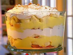 Banana Pudding Trifle  Ingredients:  2 small packets of Jello instant vanilla pudding  2 cups of whole milk  1 can of Eagle brand sweetened condensed milk  8 oz of sour cream  1 container of cool whip  1 box of Nilla Wafers  Bananas