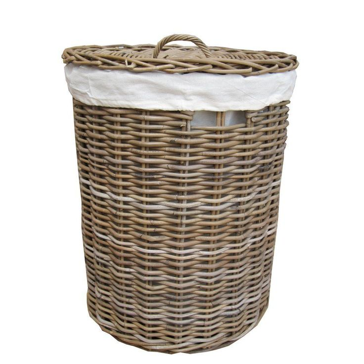 Grey & Buff Round Rattan Wicker Laundry Basket - Lined - Storage Basket in Home, Furniture & DIY, Household & Laundry Supplies, Laundry Baskets/ Bins   eBay