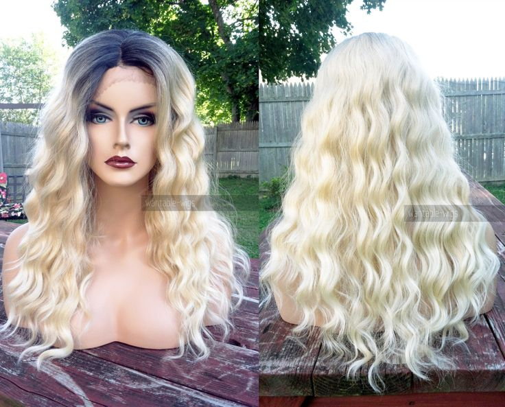 U.S.A. // Kinky Heat OK Wavy Ombre Blonde BABY Hair LACE Front & Part Long Wig w/ Dark Roots by WantableWigs on Etsy https://www.etsy.com/listing/251721088/usa-kinky-heat-ok-wavy-ombre-blonde-baby