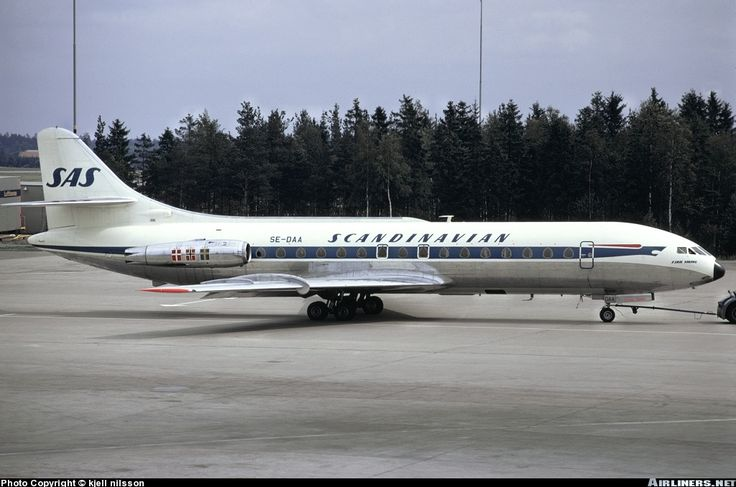 Sud SE-210 Caravelle III SAS aircraft. Flight SK-585 NCE-BCN in 1h 5 m. on July 31, 1961