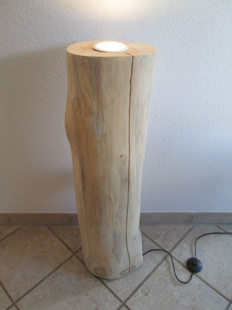Nr.111, Kiefer, Deckenfluter, Stehlampe Holz, ca. 22cm x 22 x 90cm ...