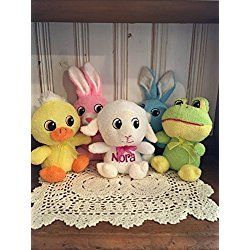 Adorable Personalized Small Easter Plush Big Head Bunny, Lamb, Frog or Duck Stuffed Toy