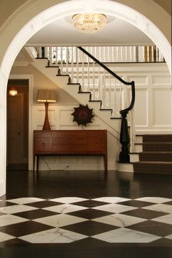 Traditional Home colonial house Design Ideas, Pictures, Remodel and DecorDecor, House Design, Floors, Black And White, Entry, Black White, Traditional Home, Staircas, Homes