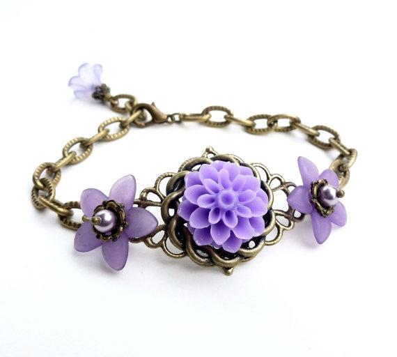Bracelet, antique bronze filigree, lilac purple flower, filigree
