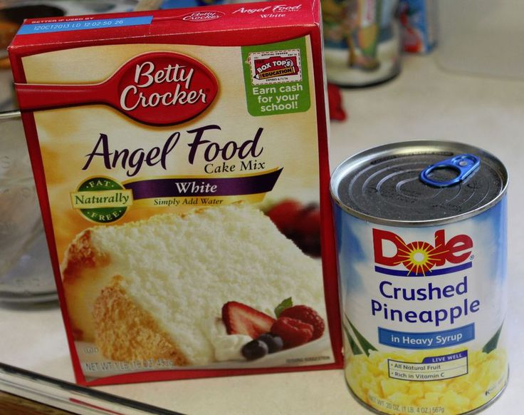 Facebook Pinterest PrintIngredients: 1 box (1-step) angel food cake mix 1 large can crushed pineapple Directions: Put dry cake mix in bowl (do not add the water as directed on the box). Add entire can of pineapple with juice. Mix carefully until all dry mix in incorporated. Pour into either a tube pan, 9×13 pan, or cupcake pan with liners. Bake at 350 degrees for time on box for size pan (around 30-40 minutes). When sides pull away from pan and toothpick, cake is done. Makes 12 Equal…