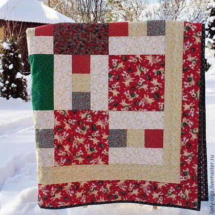 Подарочное лоскутное покрывало одеяло Рождество в Лапландии красное в детскую. Фото. Мастер Lady Olga