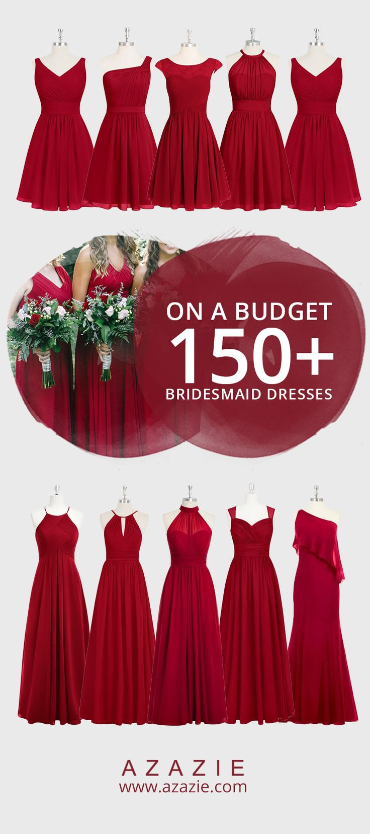 Attention Autumn brides! This beloved Burgundy is quite the popular shade for any Autumn themed wedding. Into the latest trends? Mix-and-match this classy shade of red by having your bridesmaids choose from 150+ of our dresses. Shopping for the perfect bridesmaid dress has never been more affordable either- all dresses are $150 or less!