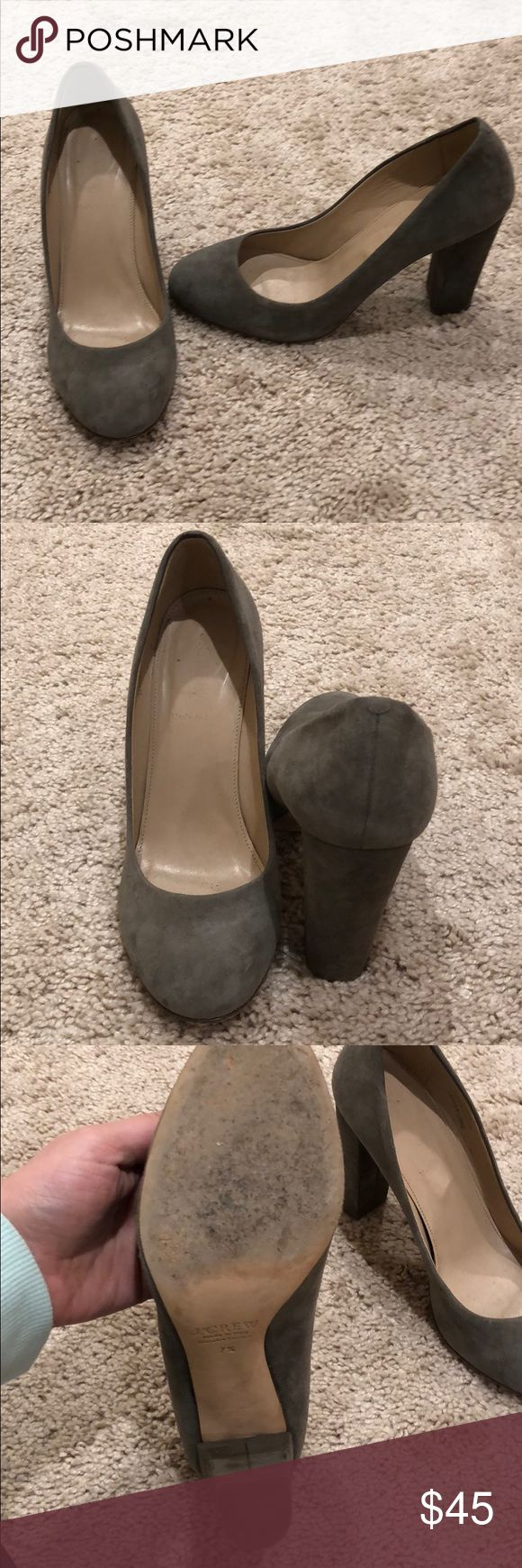 Jcrew suede grey block heel Round toe suede block heel. Grey. Wore a few times for work but a bit too small on me. No major signs of wear. Heels are a little darker grey. EUC. About a 4 inch heel. J. Crew Shoes Heels