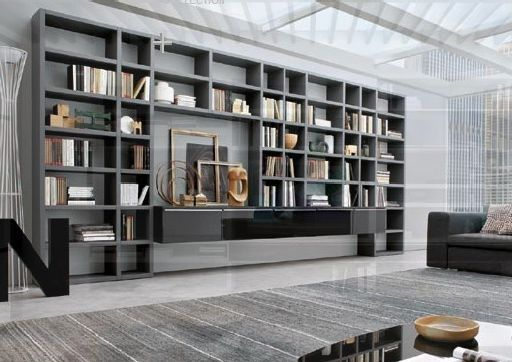 Long Wall Storage Book Shelves Hpd385 - Storage Shelves - Al Habib Panel Doors