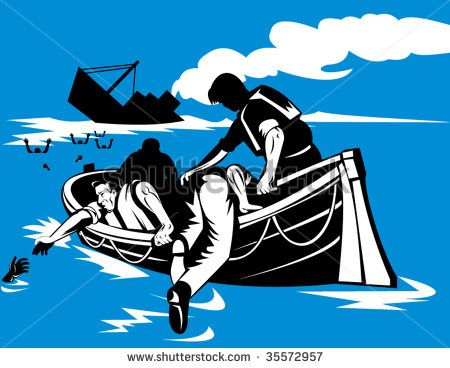 Men on lifeboat with sinking ship in background #shipwreck #woodcut #illustration