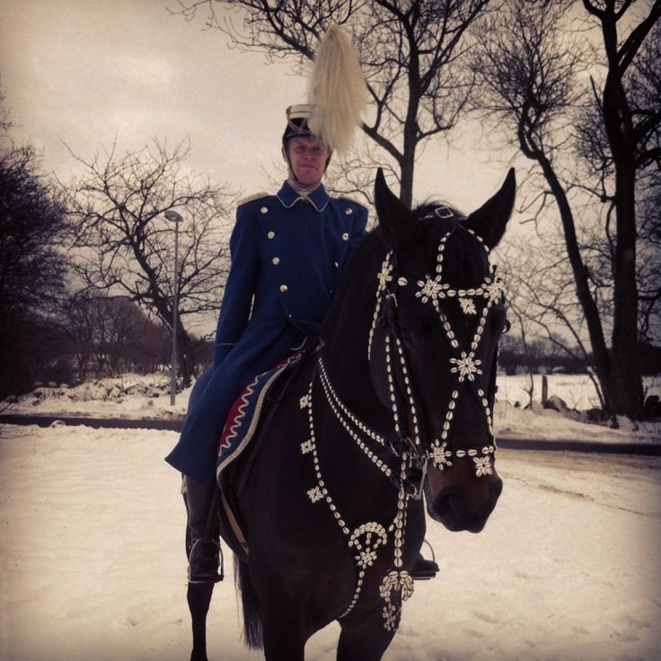 A Danish Hussars Officer and his horse in the snow after a parade. Denmark, 2013.